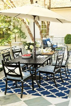 Got beautiful new porch furniture? See 15 different ways to arrange your porch and make the most of your space with dining and seating furniture - Ballard Style! Deck Seating, Outdoor Seating, Outdoor Rooms, Outdoor Living, Outdoor Decor, Rustic Outdoor, Outdoor Fun, Outdoor Ideas, Backyard Ideas