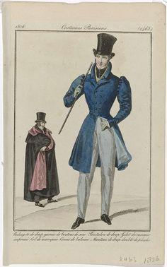 Anonymous   Journal des Dames et des Modes, Costumes Parisiens, 15 décembre 1826, (2463): Redingote de drap..., Anonymous, Pierre de la Mésangère, 1826   Staande man gekleed in een redingote van laken versierd met knopen van zijde. Hieronder een vest van bedrukte 'casimir' en een lange broek van laken. Kraag van marokijnleer. In de hand een wandelstok van 'baleine'. Verder accessoires: hoge hoed, handschoenen, schoenen met vierkante neuzen. Op de achtergrond een man gekleed in een mantel van…