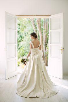 Vestido de novia en rústico de seda natural