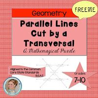 Parallel Lines Cut by a Transversal Puzzle by Free to Discover Alternate Exterior Angles, Angles Worksheet, Geometry Lessons, Algebra Activities, Teacher Freebies, India School, Puzzle, 7th Grade Math, Cooperative Learning