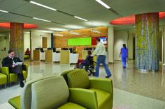 The ED lobby features a modern approach to the building's forest theme, which is tied to the regional geography of the Pacific Northwest. Seattle Children's Hospital. Credit: Benjamin Benschneider.