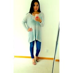 Brandy Melville Light Blue Tunic Sweater Adorable light blue sweater. Long tunic style. Very hard to find. Sheer. Looks great layered with a tank or bralette. Best fits size small to medium. It's a loose fitting sweater. Worn once! No trades. Brandy Melville Sweaters V-Necks