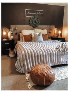 Room Ideas Bedroom, Home Decor Bedroom, Cozy Master Bedroom Ideas, Dark Master Bedroom, Bedroom Furniture, Western Bedroom Decor, Fall Bedroom, Master Bedroom Design, Bedroom Inspo