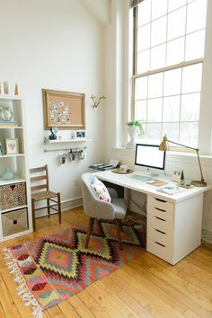 You won't mind getting work done with a home office like one of these. See these 20 inspiring photos for the best decorating and office design ideas for your home office, office furniture, home office ideas Home Office Space, Home Office Design, Home Office Decor, Home Decor, Small Office, Office Furniture, Office Designs, White Office, Furniture Ideas