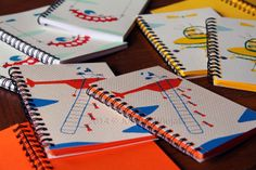 Getting ready for Le Free Market de Paname! Cool coloured notebooks with screen printed cover.  2014 © Joanna Wiejak