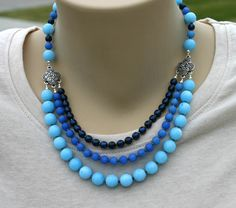 Nothing but blue necklace multistrand by JewelryByLoriStave