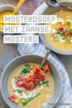 Zaanse mosterdsoep - FunkyFood by Niki Dutch Recipes, Cheeseburger Chowder, Food Inspiration, Thai Red Curry, Nom Nom, Brunch, Food And Drink, Veggies, Salad