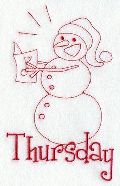 Bordado navideño // Snowman - Thursday (Redwork) //  Encontrado en emblibrary.com