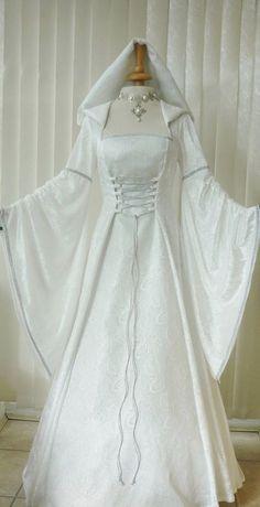 Medieval Pagan Renaissance Ivory & Silver Hooded Wedding Dress, £175, Dawns Medieval Dresses