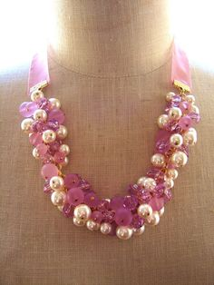 Pink Necklace with Ribbon Tie $50