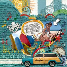 Dare #237           Credits :  Whimsy Waves by Jeena Desai  Doodle Arrow and swirls – Sweet Spring by Cinzia Designs  BlahBlahBlah Doodles and Hello Day dream Musical Freebie by Allison Pennington  Summer words – Painted Words by Lili  Background paper,other papers, resin bits, car by Paula Kesselring – Summer Beach  Date Tag by Kin Jensen  Font : Traveling Typewriter  Music : Kokomo by Beach Boys  Beach Boys Logo by internet