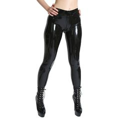 ed1894e55177df AvaCostume Womens Latex Rubber Pants Jeggings Without feet, crotch zipper  Made of natural latex Glued by handmade It is polished by silicone oil  Note: ...