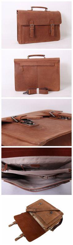 Genuine Leather Men's Briefcase Laptop Handbag Messenger Bag For Men