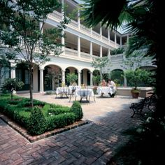 Planters Inn, Charleston SC. Our Wedding reception in the courtyard was spectacular! Try their world famous coconut cake!