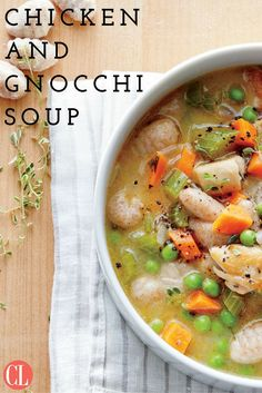 Homey and hearty chicken and dumplings has never been faster or easier, thanks to store-bought gnocchi. Browned bits from the seared chicken thighs create a rich base for the soup. Frozen green peas cook instantly, keep well, and add a fresh, springy note to any dish any time of the year. | Cooking Light