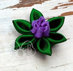 Peacock colors double lotus flower hair or clothing accessory by #VioletsBuds