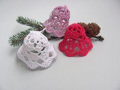 White crochet christmas bell ornament by InKasTrifles on Etsy