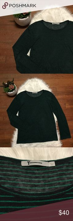"""T by Alexander Wang Striped Long Sleeve Tee Super soft long sleeve tee by T by Alexander Wang. Size small but oversized feel. Green and dark navy stripes.   Laid flat: 26"""" from shoulder to hem T by Alexander Wang Tops Tees - Long Sleeve"""