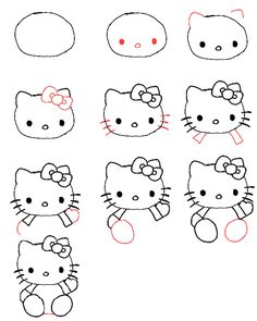 Hello kitty tekenen