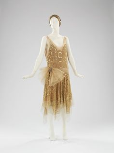 Evening ensemble Design House: House of Lanvin  (French, founded 1889) Designer: Jeanne Lanvin (French, 1867–1946) Date: spring/summer 1923 Culture: French Medium: silk, metal, rhinestones