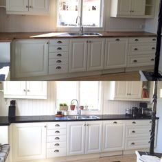 Kitchen black and white deco plastic. Before and after