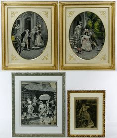 Four framed items including two oval century style images of courting females, a Victorian female image with an owl and an century style street scene Ancient Persia, January 2018, Female Images, 18th Century, Catalog, Owl, Gallery Wall, Auction, Scene