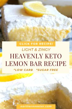 This incredible keto lemon bar recipe has a gorgeous sweet and zingy flavor without the heavy carbs ketorecipes ketolemonbars keto # Low Carb Sweets, Low Carb Desserts, Healthy Desserts, Low Carb Recipes, Lemon Desserts, Lemon Recipes, Dessert Recipes, Raw Recipes, Raw Desserts