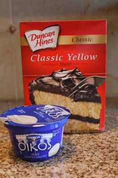 Greek Yogurt and Cake Mix. I've tried several cake mix substitutions .this is the BEST one! I used Kroger brand fat free greek yogurt. Cake Mix Recipes, Dessert Recipes, Just Desserts, Delicious Desserts, Light Desserts, Healthy Desserts, Yummy Food, Healthy Recipes, Greek Yogurt Recipes