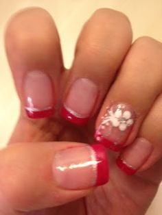 Hot pink french with silver and flower.