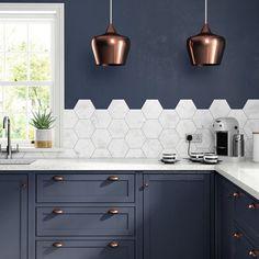 Image result for carrara quartz upstand with hexagonal tiles