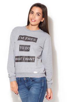 Bluza damska w odcieniach szarości ze ściągaczem i rozbudowanym przodem Graphic Sweatshirt, Sweatshirts, Sweaters, Fashion, Moda, Fashion Styles, Trainers, Sweater, Sweatshirt