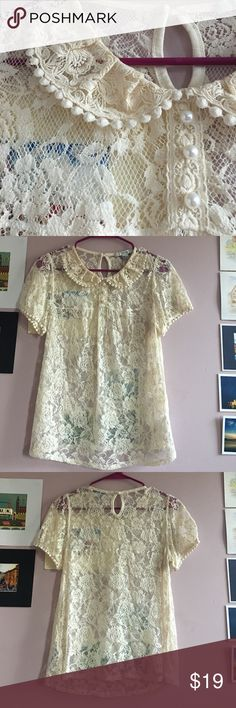 Pearl and lace top Pearl and lace top with from forever 21. EUC, sheer and would need tank top or bralette underneath. Size medium but is closer to a small in fit. Forever 21 Tops Blouses