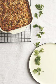 Vegane Lasagne mit Thai-Gemüse und Cashew-Knusper