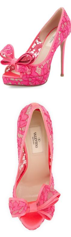 #Valentino Peep-Toe Lace Bow Pump #Pink