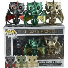 Figurine POP! 3 Dragons Metallic (Exclusive) - Game of Thrones