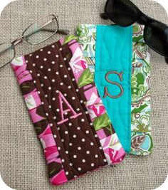 Wish List: Pleated Monogram Eyeglass Cases - in the hoop embroidery design