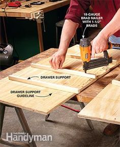 Add The Drawer Supports To Side Panels Of DIY Garage Storage Drawers