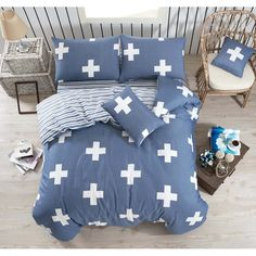 Set povlečení s prostěradlem na dvoulůžko Cross, 200 x 220 cm Double Quilt, Quilt Cover Sets, Cosmic, Comforters, Duvet, Quilts, Blanket, Bed, Modern