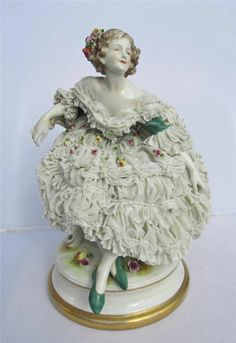 Fine Volkstedt Dresden Lace Figure depicting A Seated Lady German   eBay