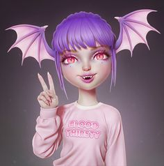 I made another COMBO piece for A Vampire-Bat girl. I'm very happy with how her sweater turned out, she looks so soft… Cartoon Girl Drawing, Girl Cartoon, Cartoon Art, Vampire Girls, Vampire Bat, Cute Dragon Drawing, Alien Girl, Pinturas Disney, Hippie Wallpaper