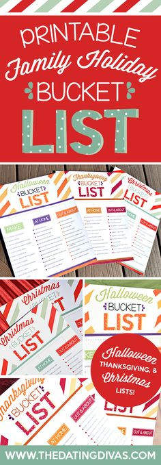 Brilliant bucket lists to use for Halloween, Thanksgiving, and Christmas! Free printables! Can't wait! www.TheDatingDivas.com