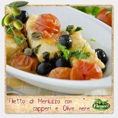 Hai bisogno di un'idea per il pranzo di oggi? Quello che ti propongo è un piatto semplice da preparare, ma ricco di gusto. Ti serve solamante del merluzzo, olive nere e capperi. Ingredienti:500g di filetti di merluzzo, 4 cucchiai di olio extravergine di oliva Romeo, 1 mazzetto di prezzemolo fresco, mezzo cucchiaio di capperi, 20 olive nere Leccino denocciolate, 10 pomodorini freschi, 1 spicchio d'aglio e sale.  Segui il procedimento: http://www.ficacci.com/ricette-con-olive.asp?id=140