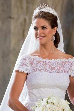 Princess Madeleine of Sweden... Her dress is gorgeous.