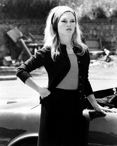 Brigitte Bardot on the set of Le Mépris (1963)