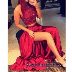 Halter prom dress, two pieces prom dress , cute red sequins chiffon long prom dress with slit