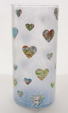 Hearts & Maps Hurricane Glass - decoupaged candle holder $20
