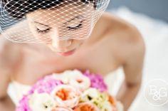 Beautiful bride, birdcage veil.