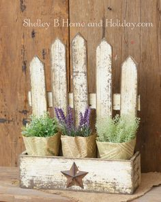 Wooden Flower Box with Picket Fence Country style porch or home decor planter, also great for staging your miniature garden scenes. Picket Fence Crafts, White Picket Fence, Picket Fences, Fence Planters, Planter Boxes, Porch Planter, Country Crafts, Country Decor, Country Style