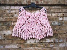 Boho Wedding Cape Crochet pink poncho Unique Handmade shawl