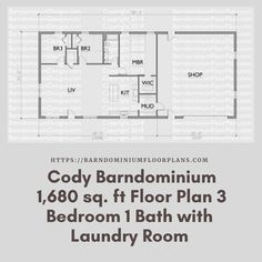 Cody 35′ x 48′ – 3 bedroom – 1 bathroom (1,680 sq ft). We sell semi-custom Barndominium floor plans and provide helpful tips to design and build your home whether it is DIY or you are paying a company. #architecture #barndominiums #home #modernbarn #barnhomefloorplans #beautifulbarn #homefloorplan #barnhomedesign #housedesign #barndominiumfloorplans #floorplan #dreambarn #barnhouse #barndominiumliving #interiordesign #barndominiumdesign #laundry #laundryroom
